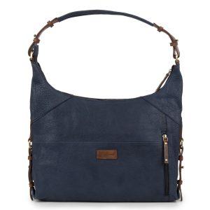 Penelope: Women's Navy Leather Handbag by Hidepark