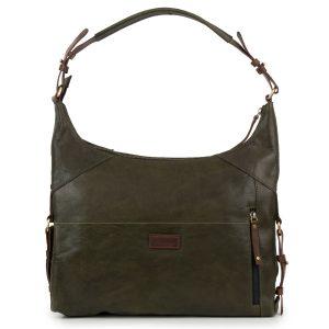 Penelope: Women's Olive Leather Handbag by Hidepark