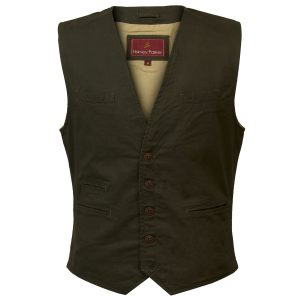 Shaw: Men's Canvas Waistcoat in Olive by Hidepark