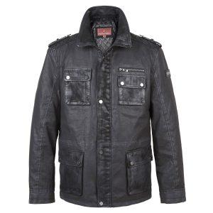 Ellis: Men's Black Cotton Canvas Jacket by Hidepark