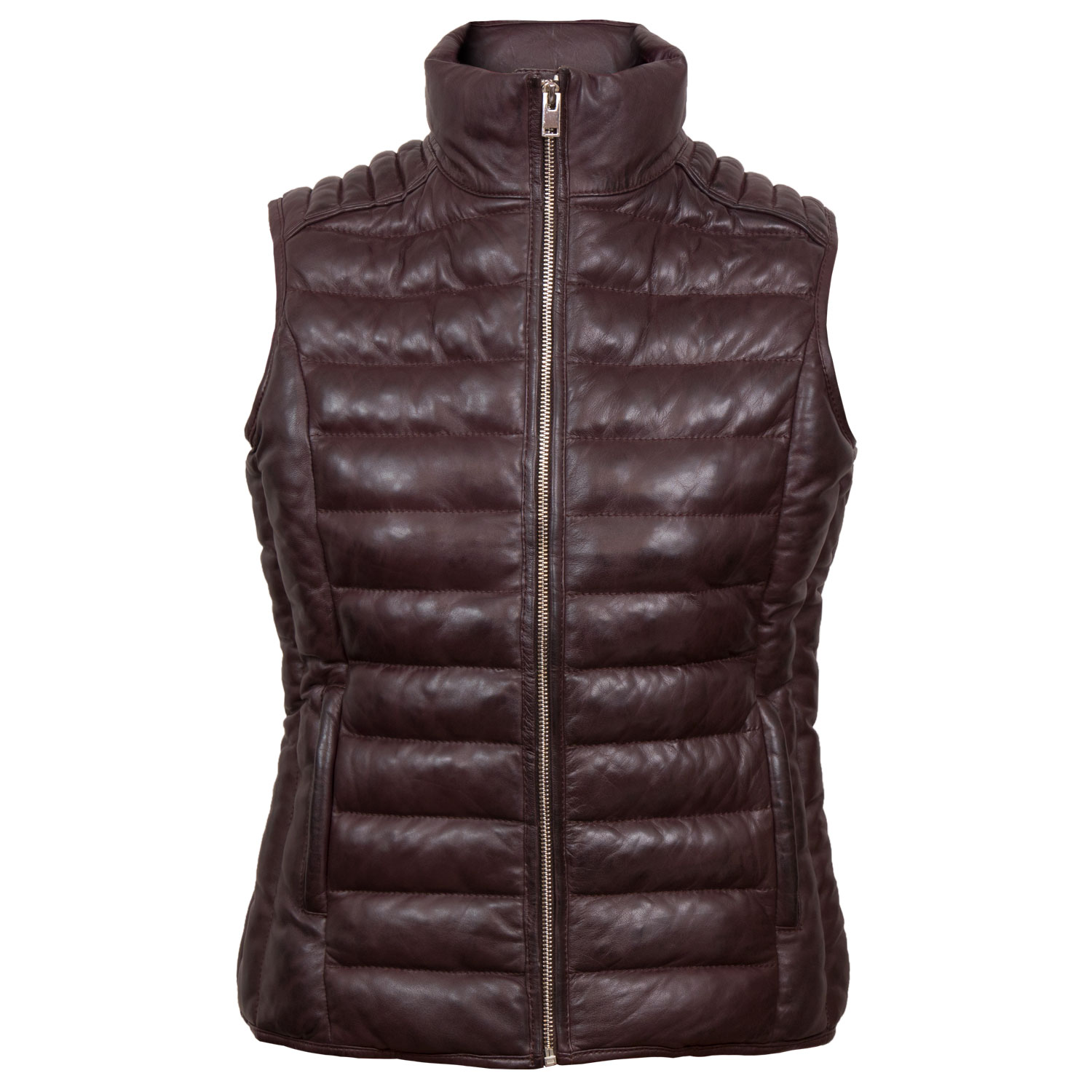 Cathy: Women's Burgundy Funnel Leather Gilet by Hidepark