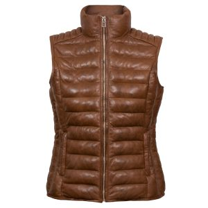 Cathy: Women's Cognac Funnel Brown Leather Gilet by Hidepark
