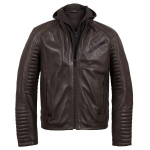 Brown Emerson Leather Jacket - front view