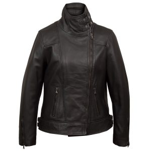 Emilia Women's Cognac Cowl Neck Black Leather Jacket by Hidepark