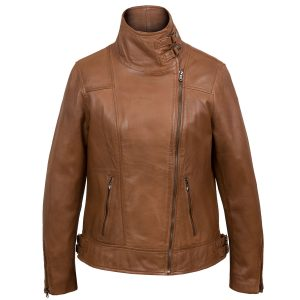 Emilia Women's Cognac Cowl Neck Brown Leather Jacket by Hidepark