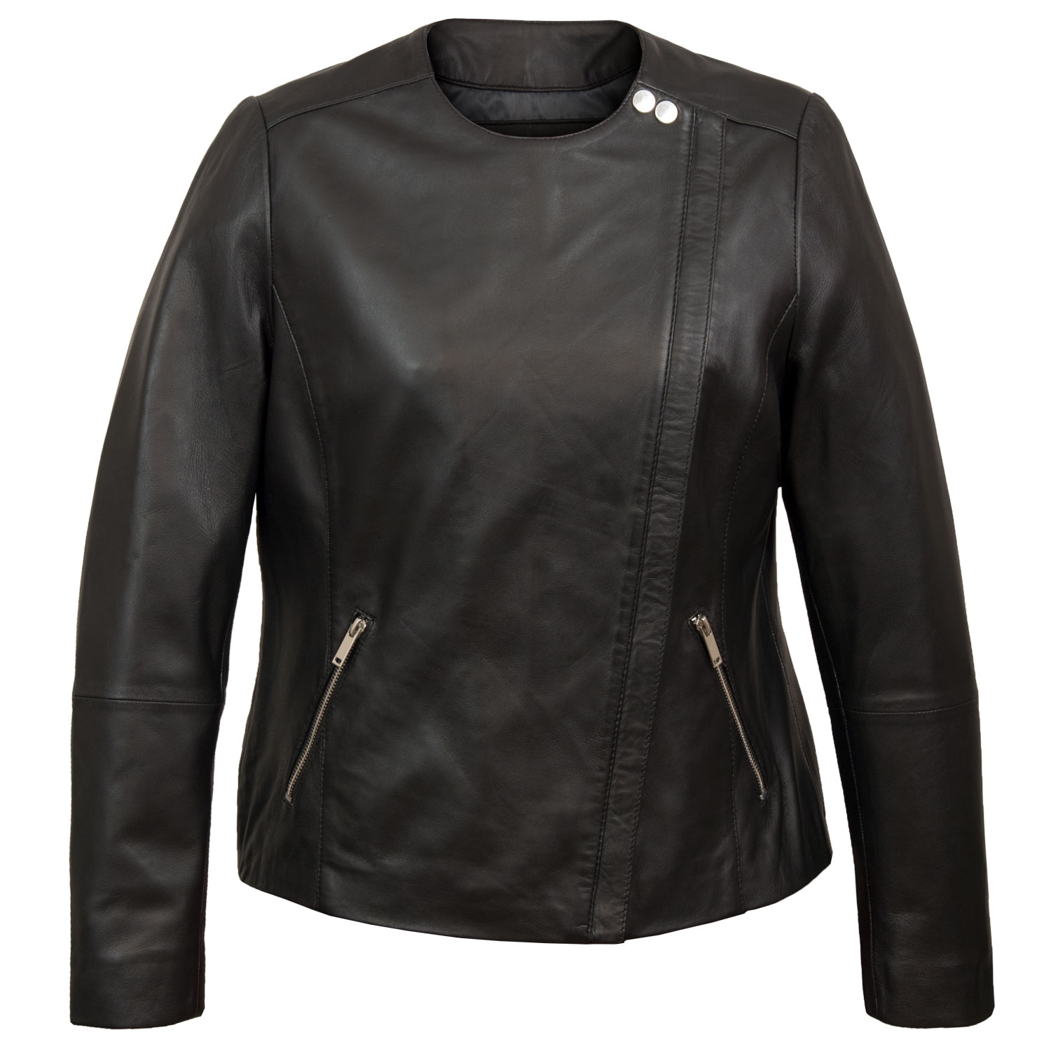 Grace Women's Black Collarless Leather Jacket by Hidepark