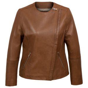 Grace Women's Brown Cognac Collarless Leather Jacket by Hidepark