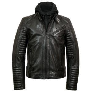 hood up - Emerson Men's Black Hooded Leather Jacket by Hidepark