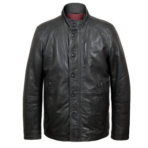 Jerry mens black leather jacket by Hidepark