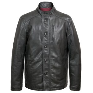 Jerry mens grey leather jacket by Hidepark