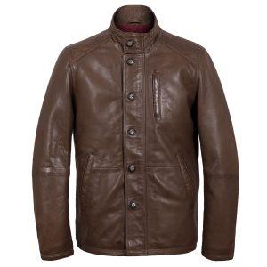 Jerry mens walnut leather jacket by Hidepark