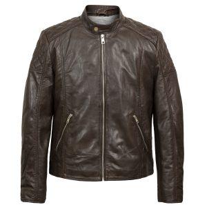 Noah mens brown leather jacket by Hidepark