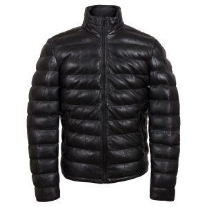 palmer mens black funnel leather jacket by Hidepark