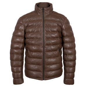 palmer mens brown funnel leather jacket by Hidepark