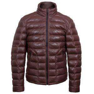palmer mens burgundy funnel leather jacket by Hidepark