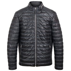 Roman mens grey puffer leather jacket by Hidepark