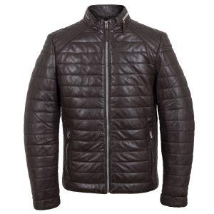Roman mens brown puffer leather jacket by Hidepark