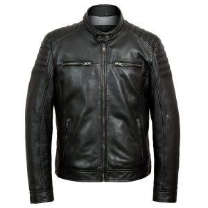 Tate mens black leather jacket by Hidepark